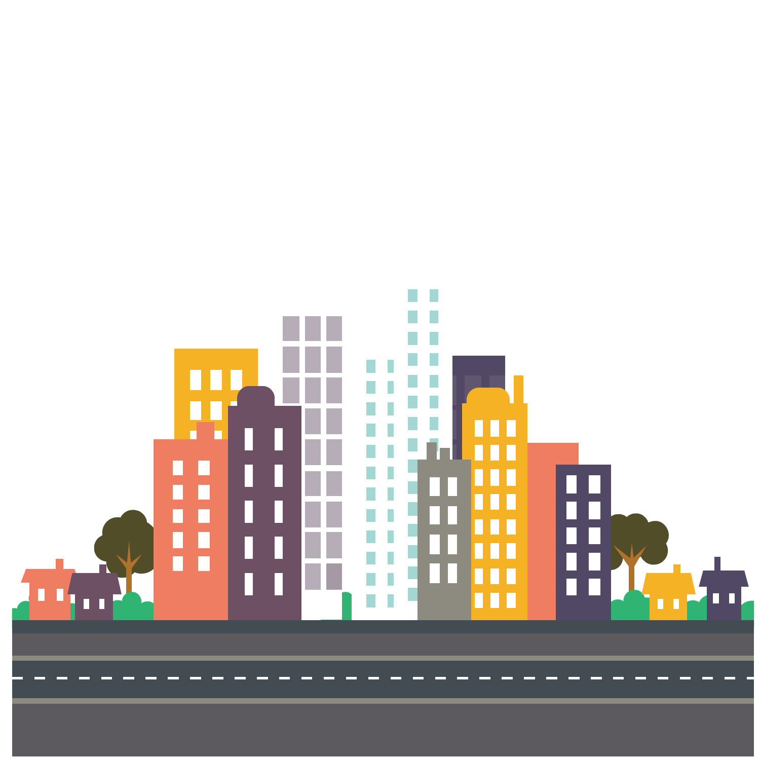 Cartoon cityscape png. Flat design city cute