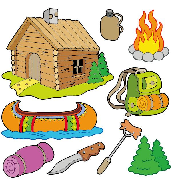 Cartoon clipart camping. Vector free vectors design