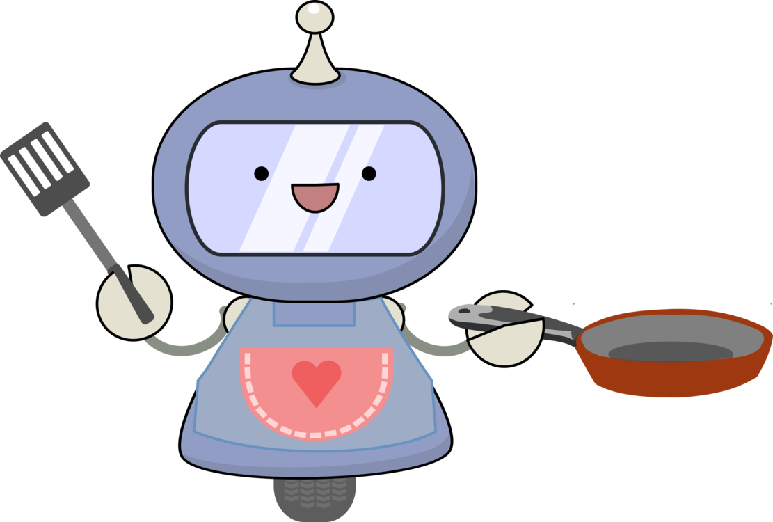 Cartoon clipart kitchen. Robot cooking chef free