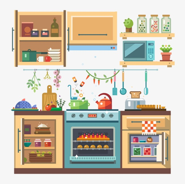 Cartoon clipart kitchen. Flat graphics tableware png