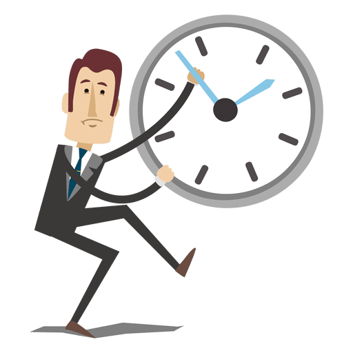 Cartoon clock png. Businessman reversing time transparent