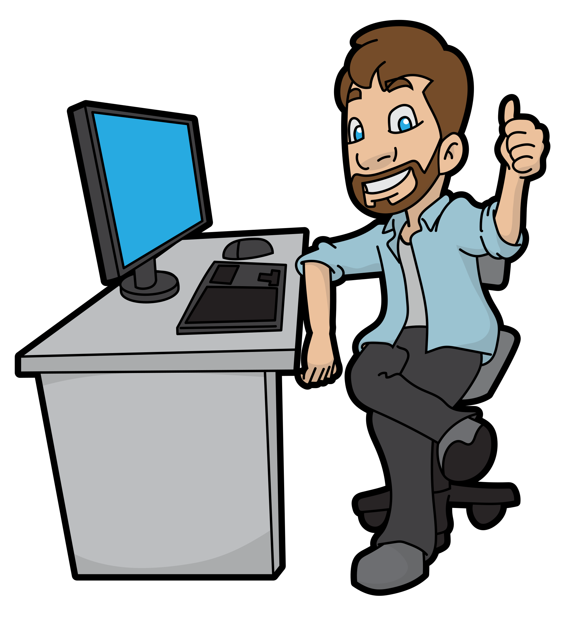 Computer cartoon png. File man approving his