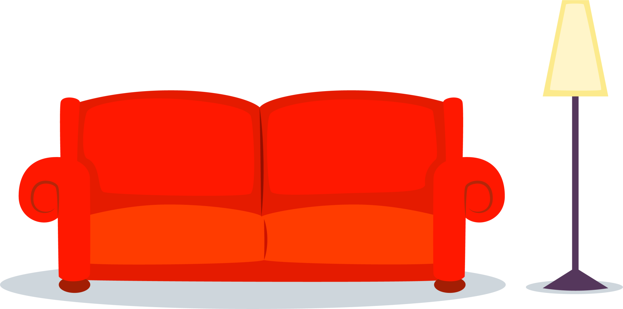 Cartoon couch png. Red sofa transprent free