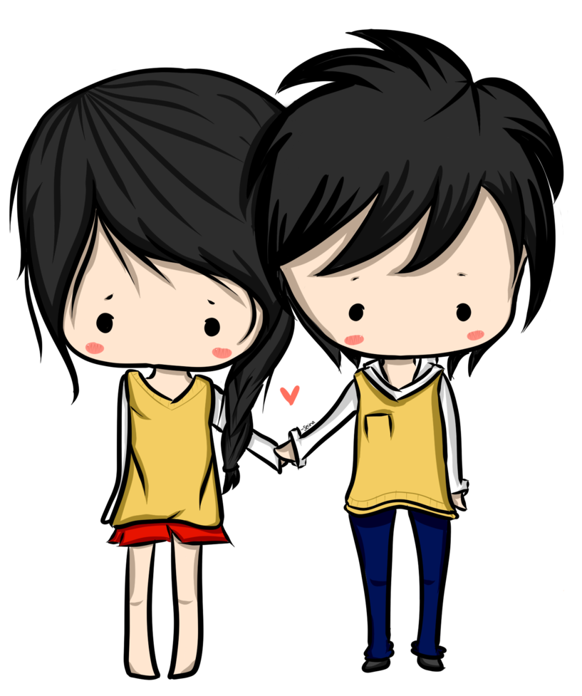 Cute couple png. Anime images transparent free