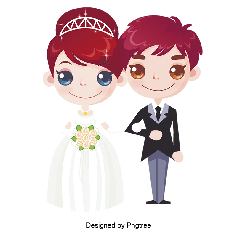 Wedding couple cartoon png. Creative marriage and