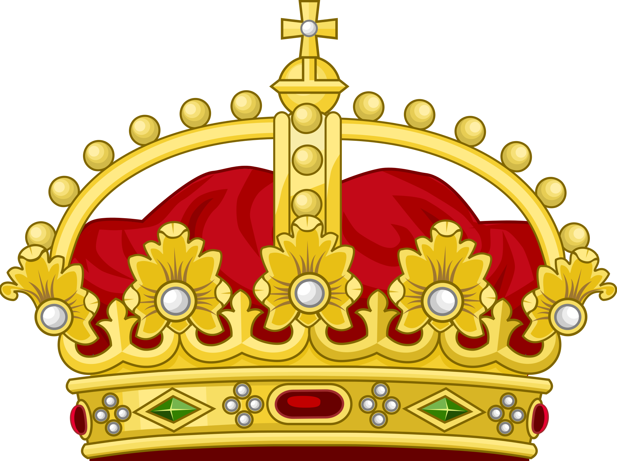 Cartoon crown png. Gold and red with