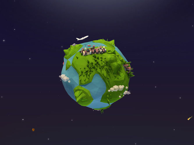 Cartoon earth. Low poly planet d