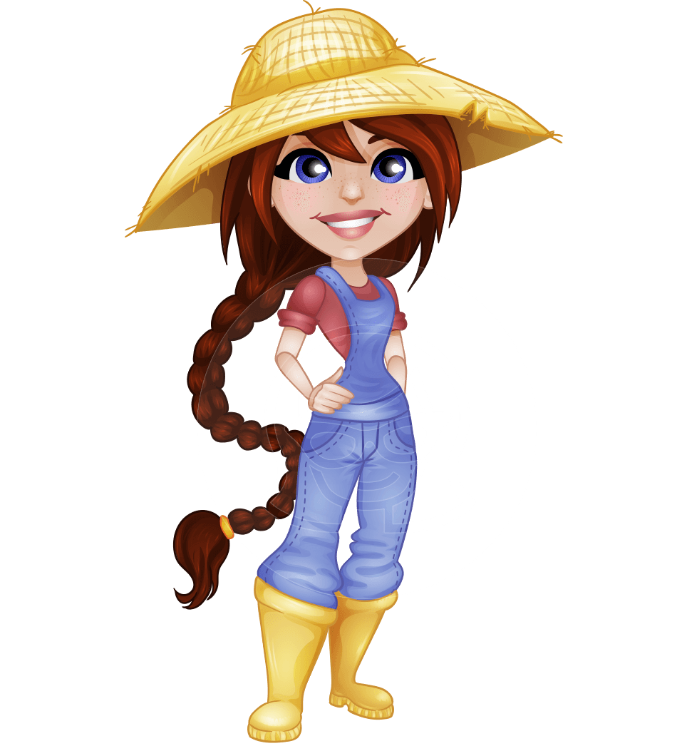 Farm cartoon png. Vector female farmer character
