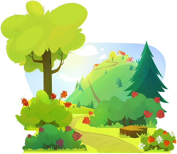 Cartoon forest png. Drawing illustration transprent free