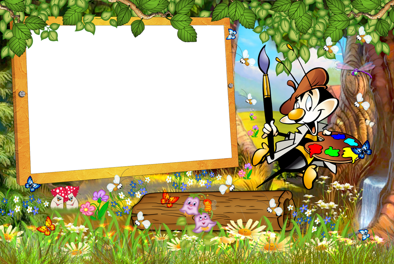 Cartoon frame png. Kids transparent with painter