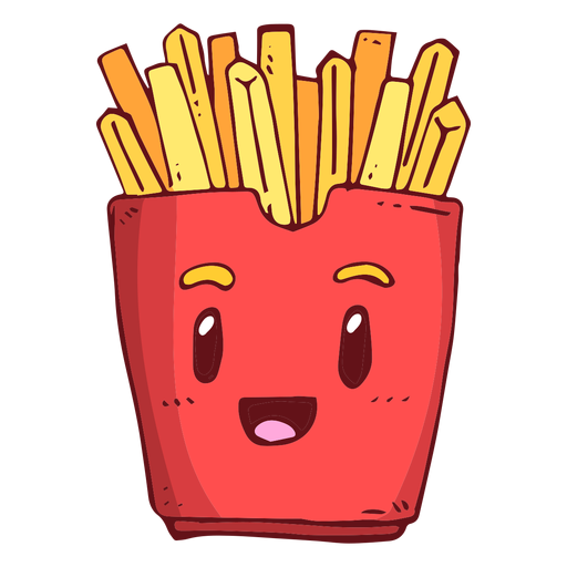 Cartoon french fries png. Box character transparent svg