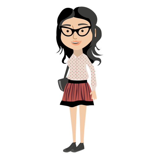 Cartoon girl png. Hipster character transparent svg