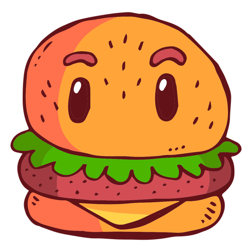 Cartoon hamburger png. Character transparent svg vector