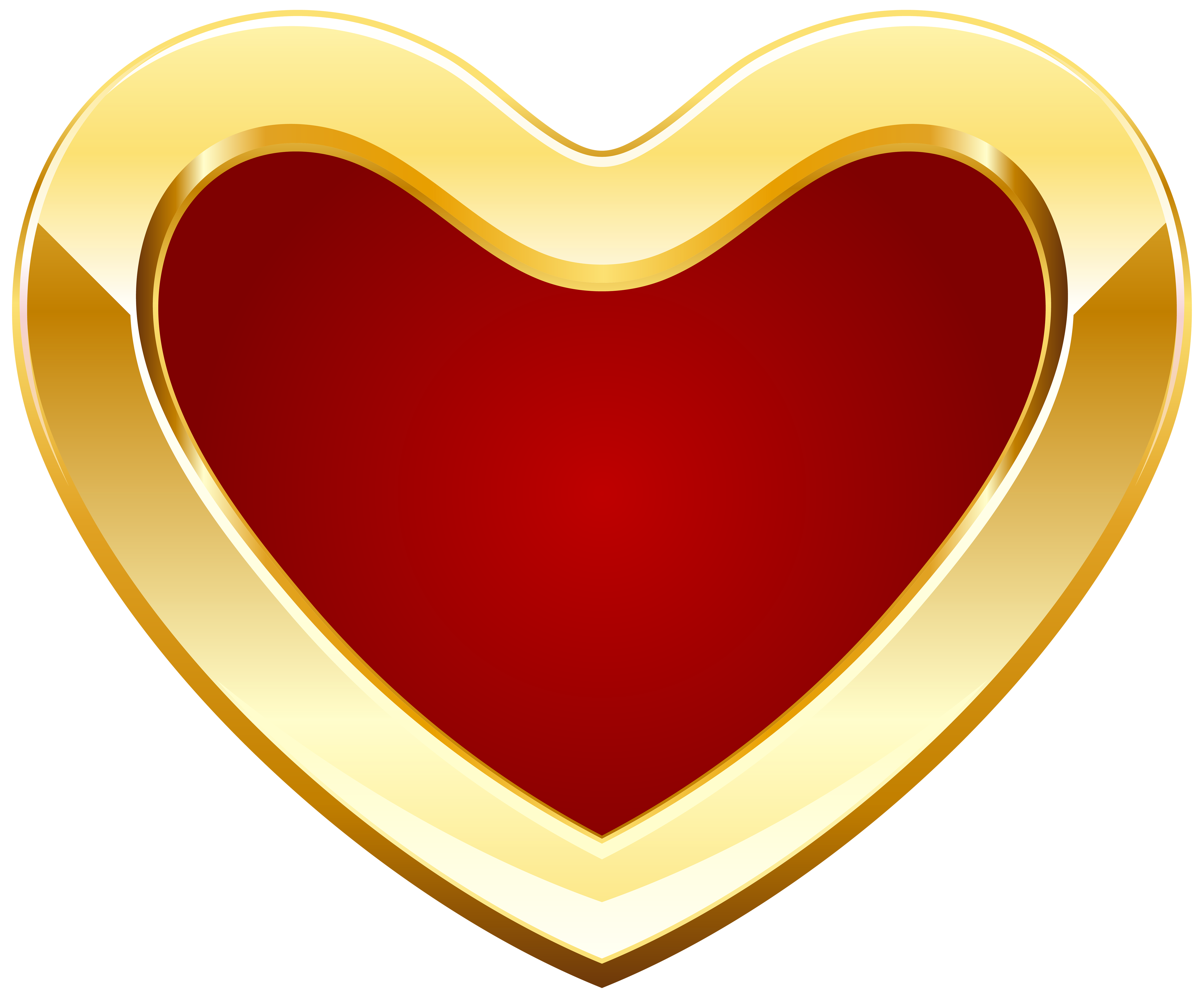 Cartoon heart png. Red and gold clipart