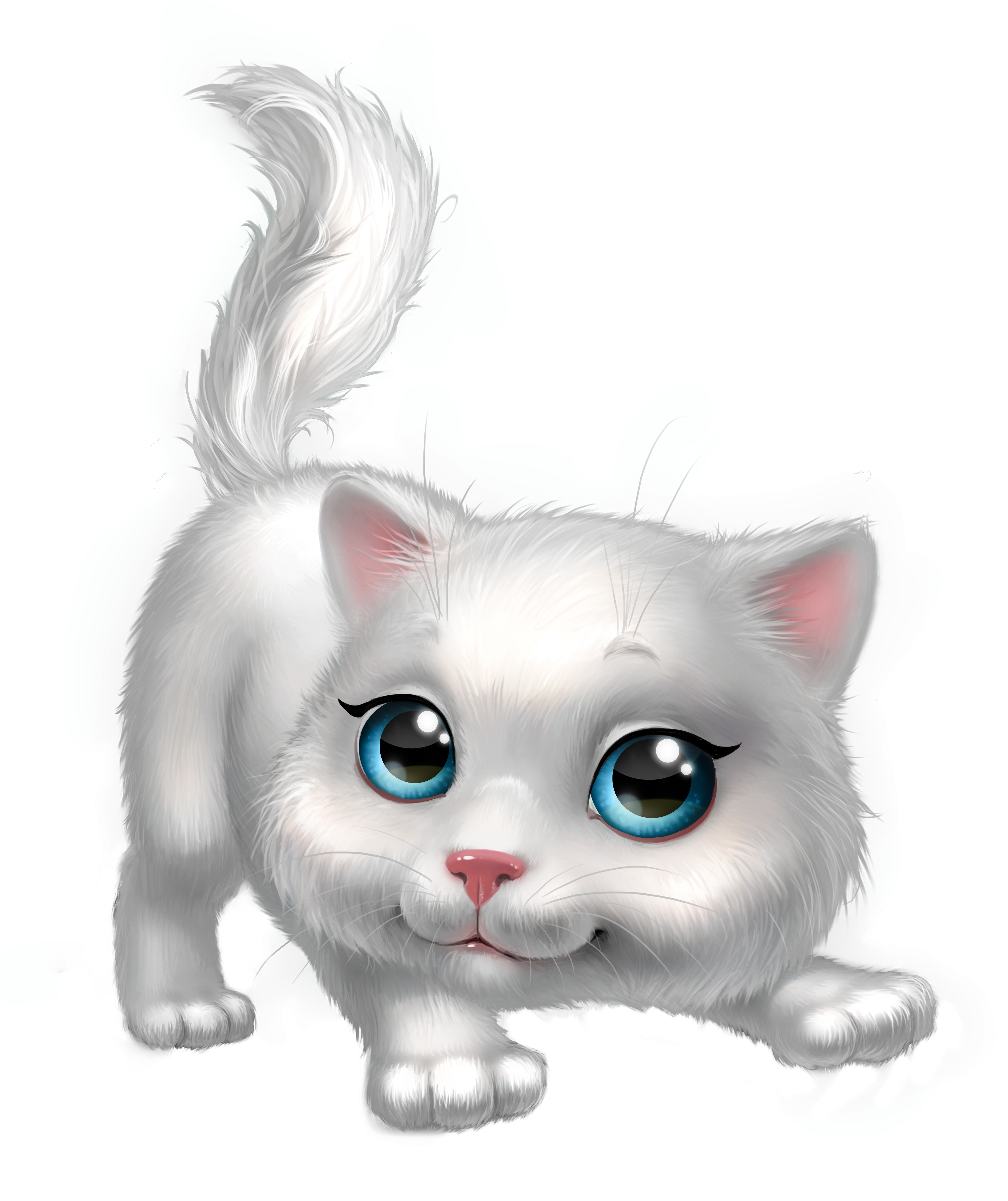 Cartoon kitten png. Cute white clipart image