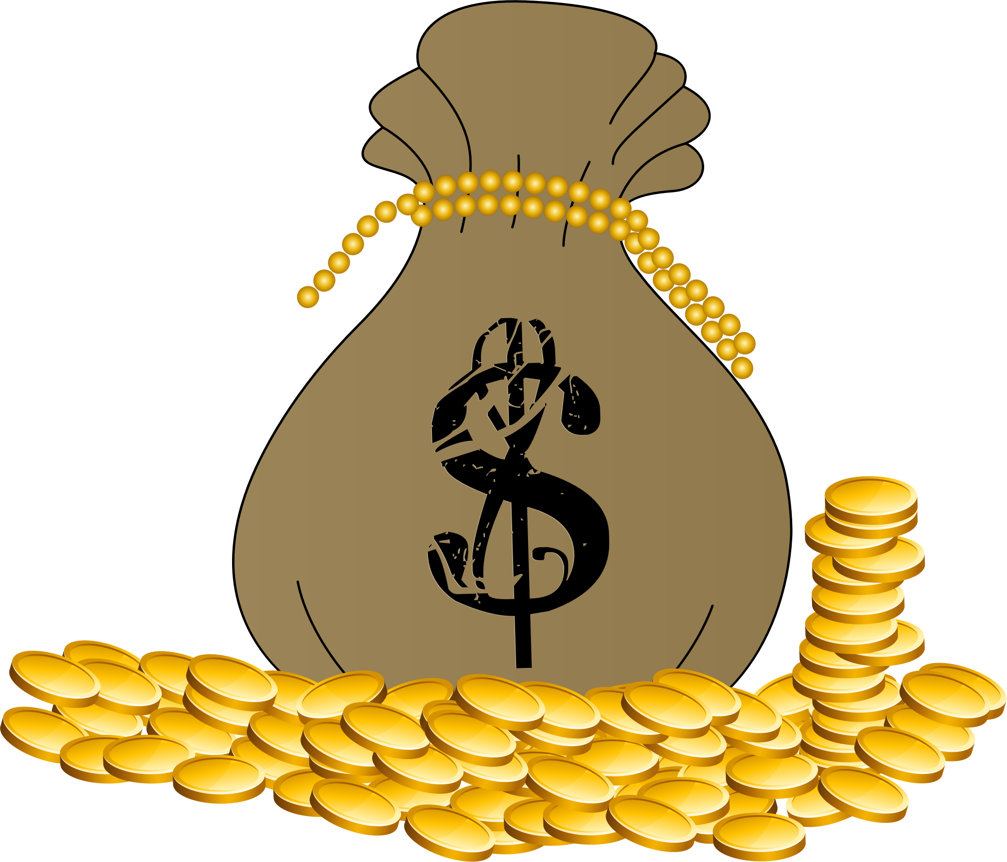 Cartoon money bag png. Of cash icons free