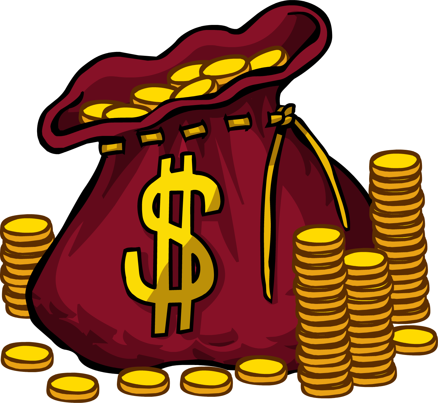 Cartoon money bag png. Image club penguin rewritten