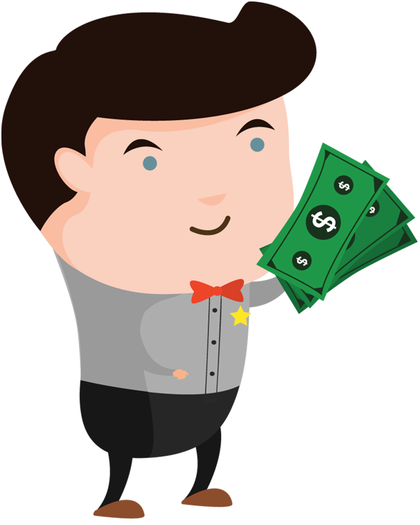 Cartoon money png. Man holding cash designshop