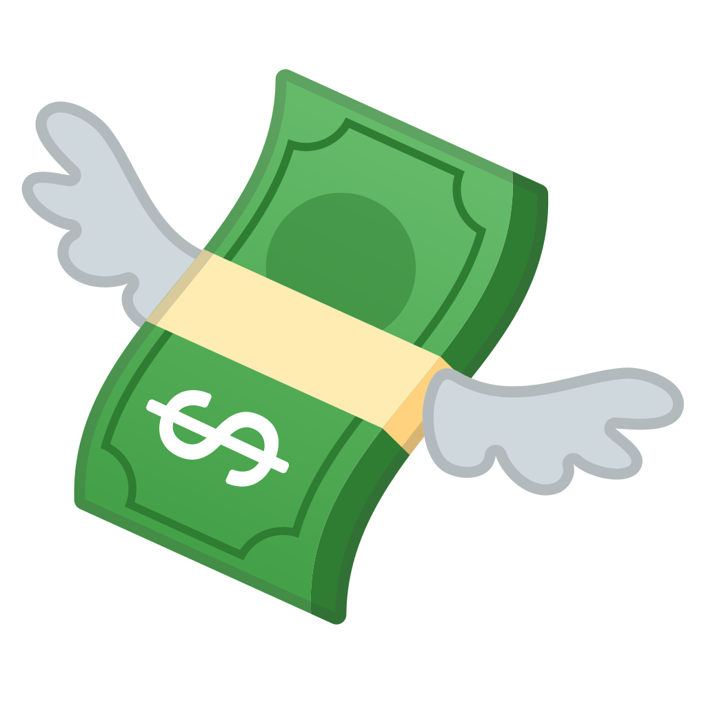 Cartoon money png. With wings icon noto
