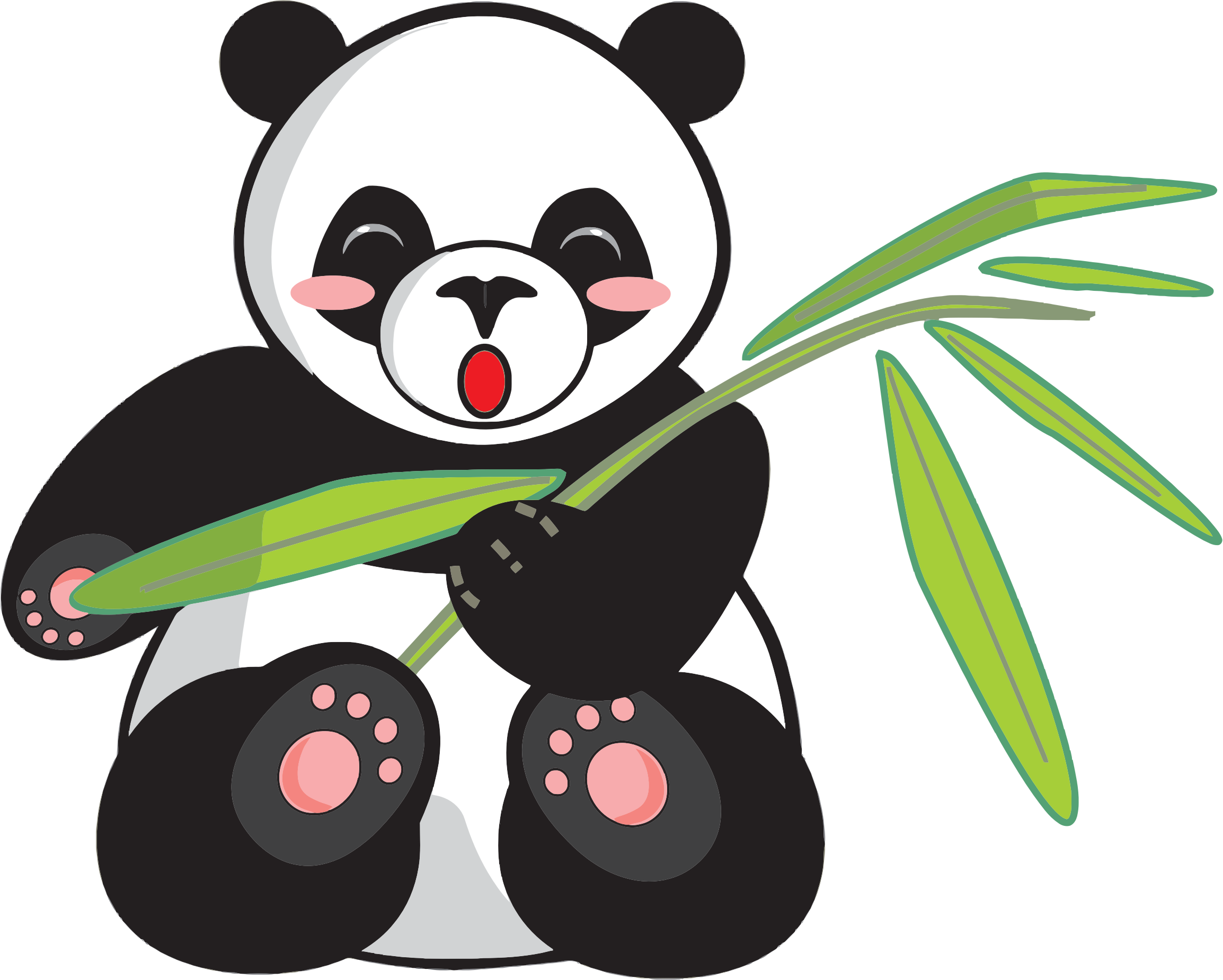 Panda clipart png. Cartoon and bamboo icons