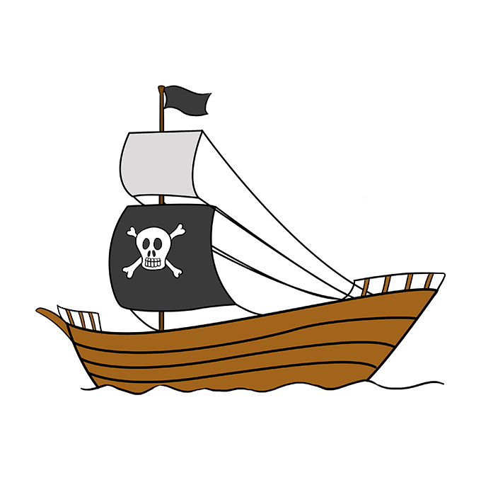 Drawing pirates pirate flag. How to draw a
