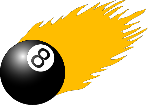 Cartoon pool ball png. With flames clip art
