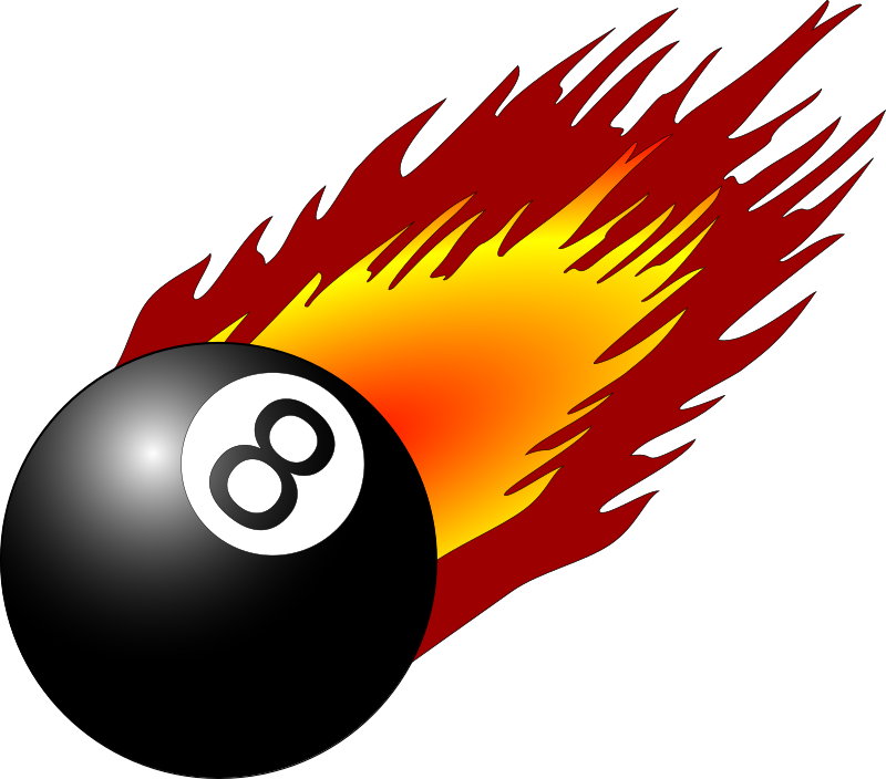 Cartoon pool ball png. Clipart with flames medium