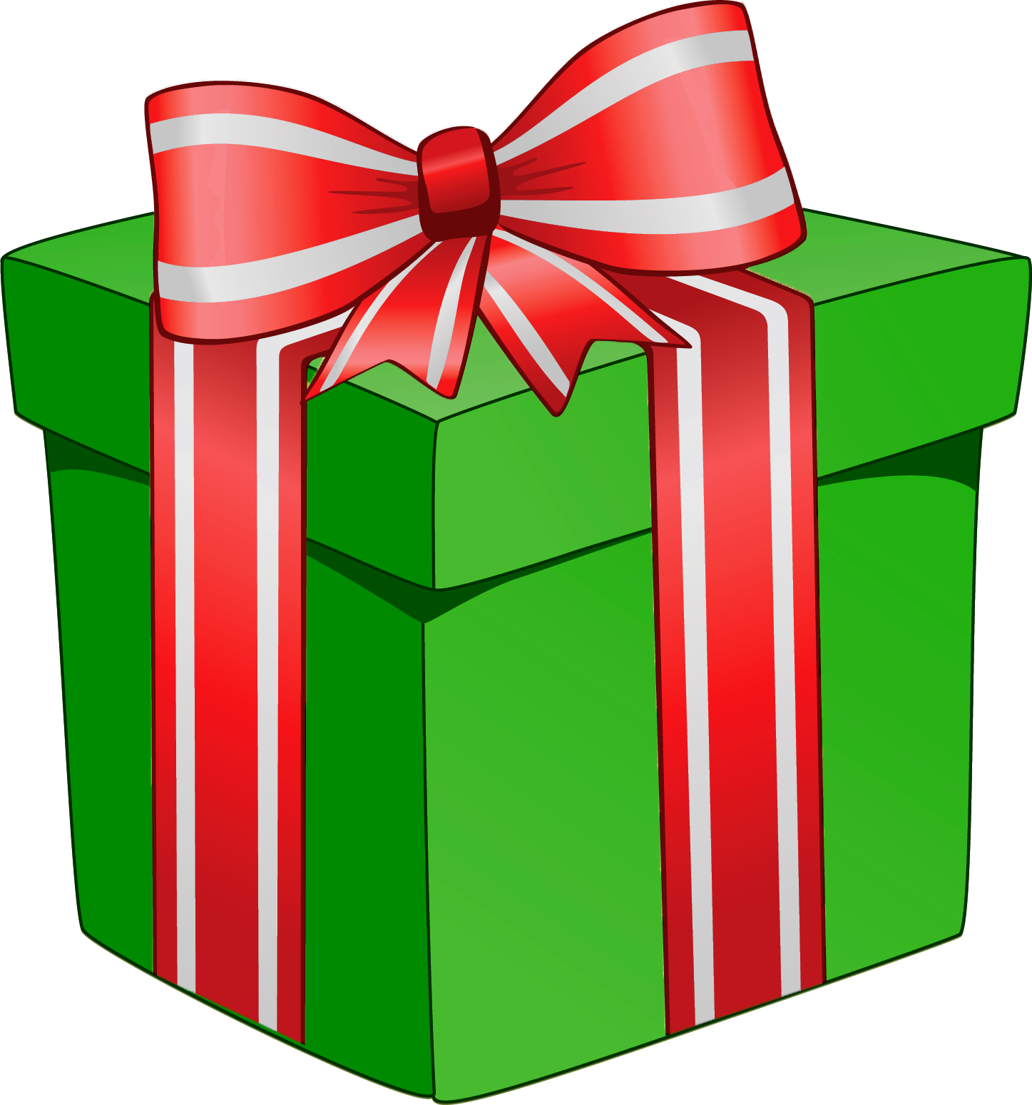 Cartoon present png. Green gift box with