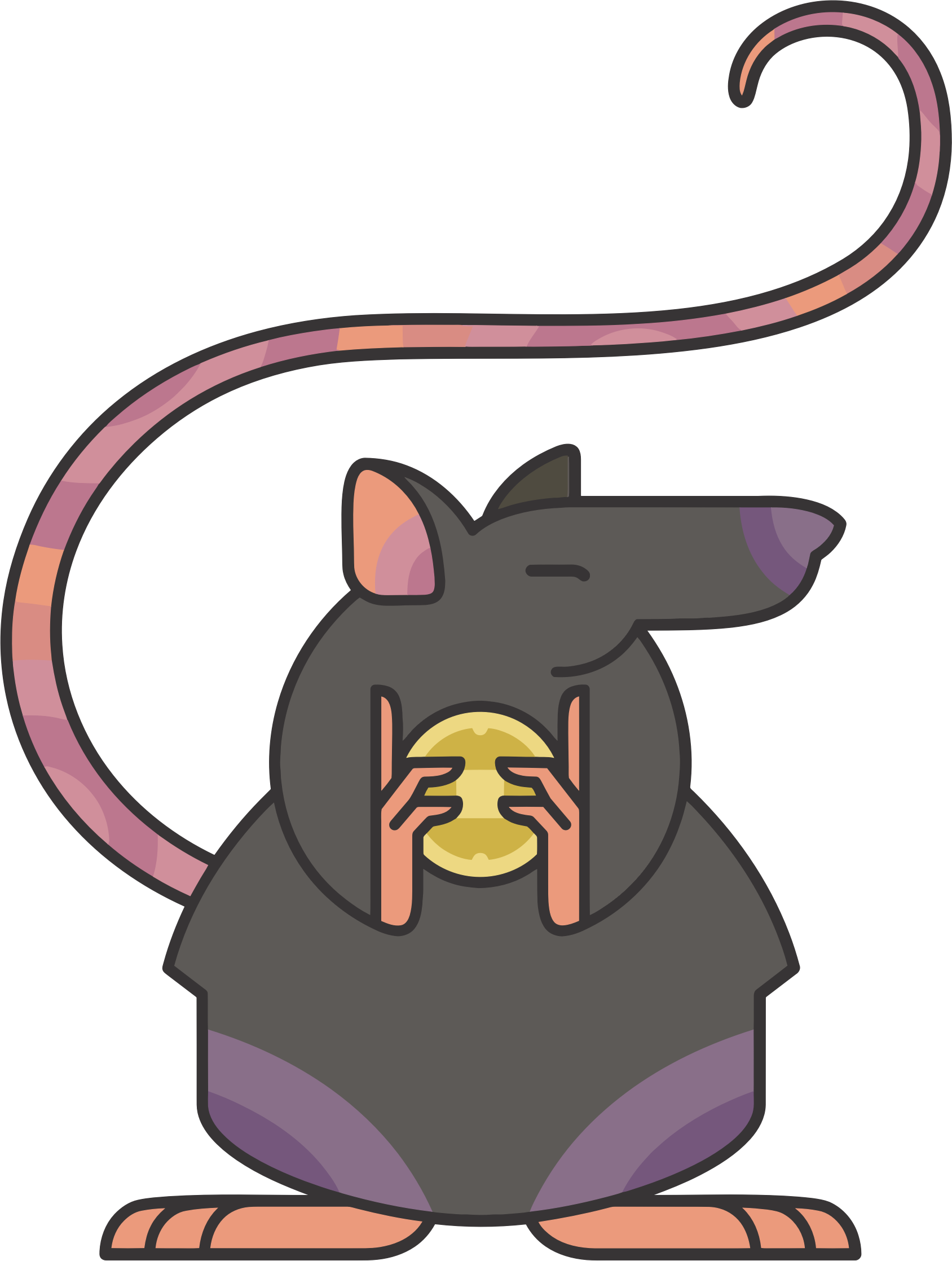 Mouse clip big. Stylized cartoon rat icons