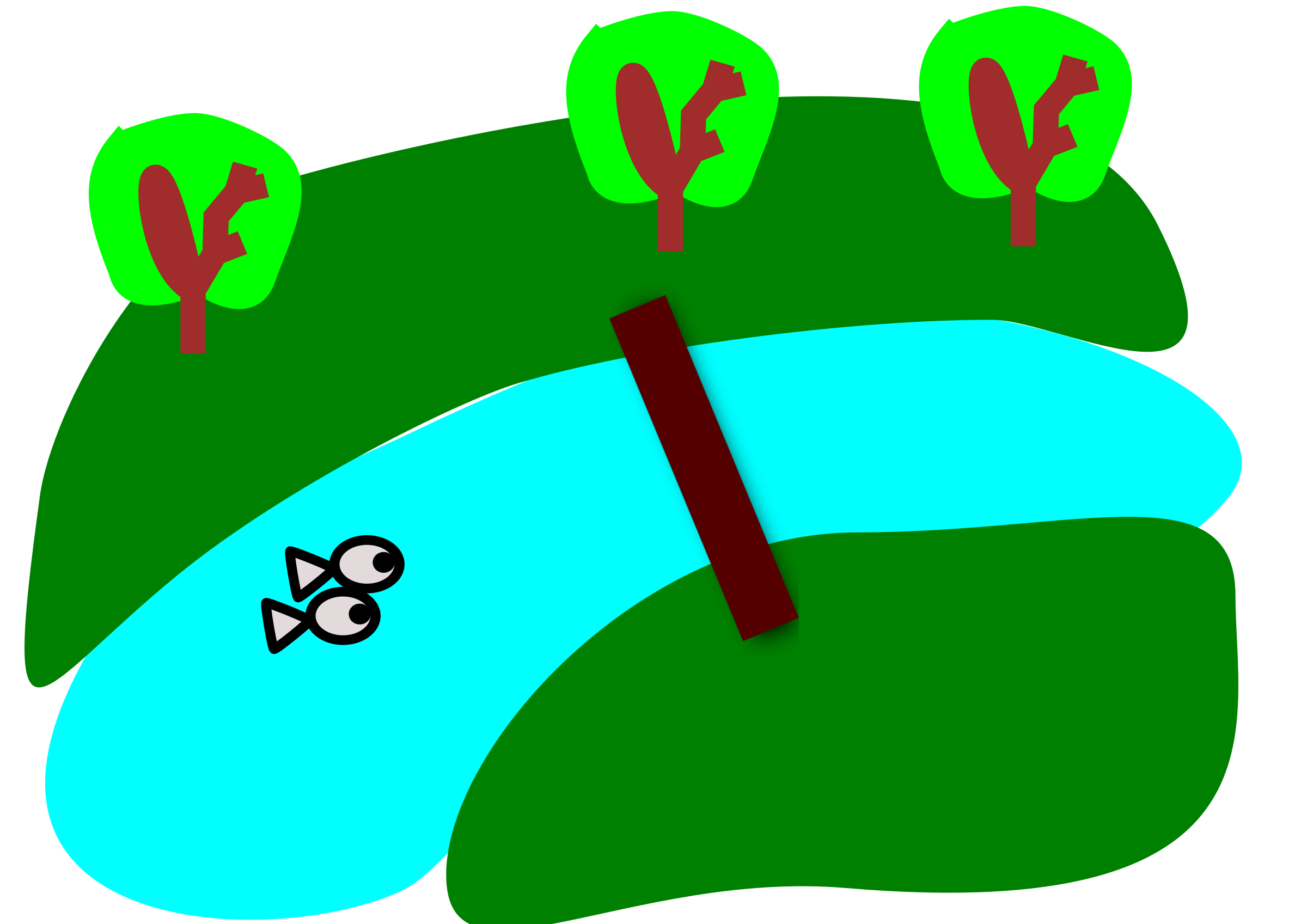 Cartoon river png. Between the green fields