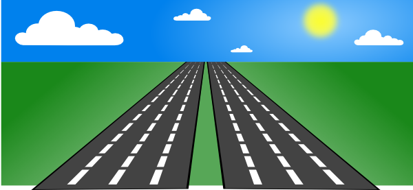 Cartoon . Road clipart vector black and white stock