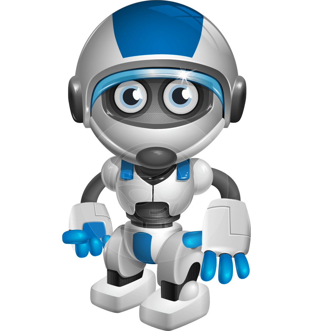 Animation vector technology. Cute robot cartoon character