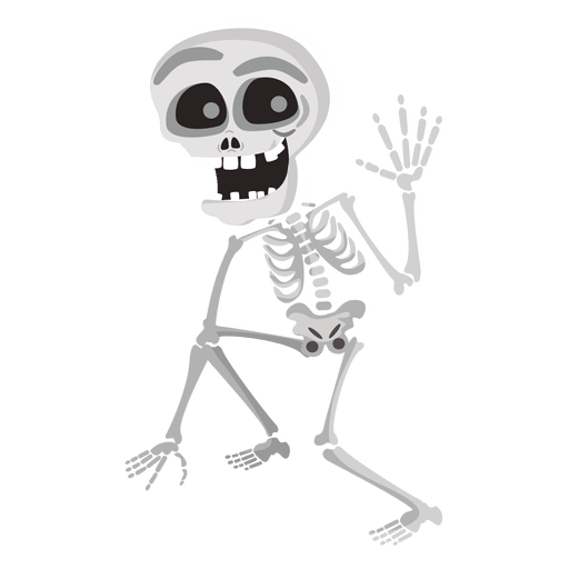 Transparent bone cartoon fish. Halloween skeleton character png