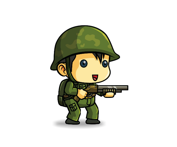 Transparent soldier animated. Tiny royalty free game