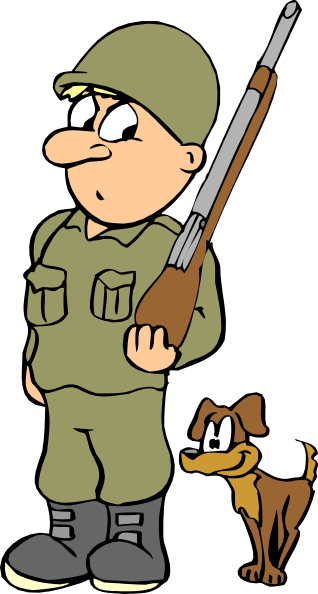 Cartoon soldier png. With dog clip art
