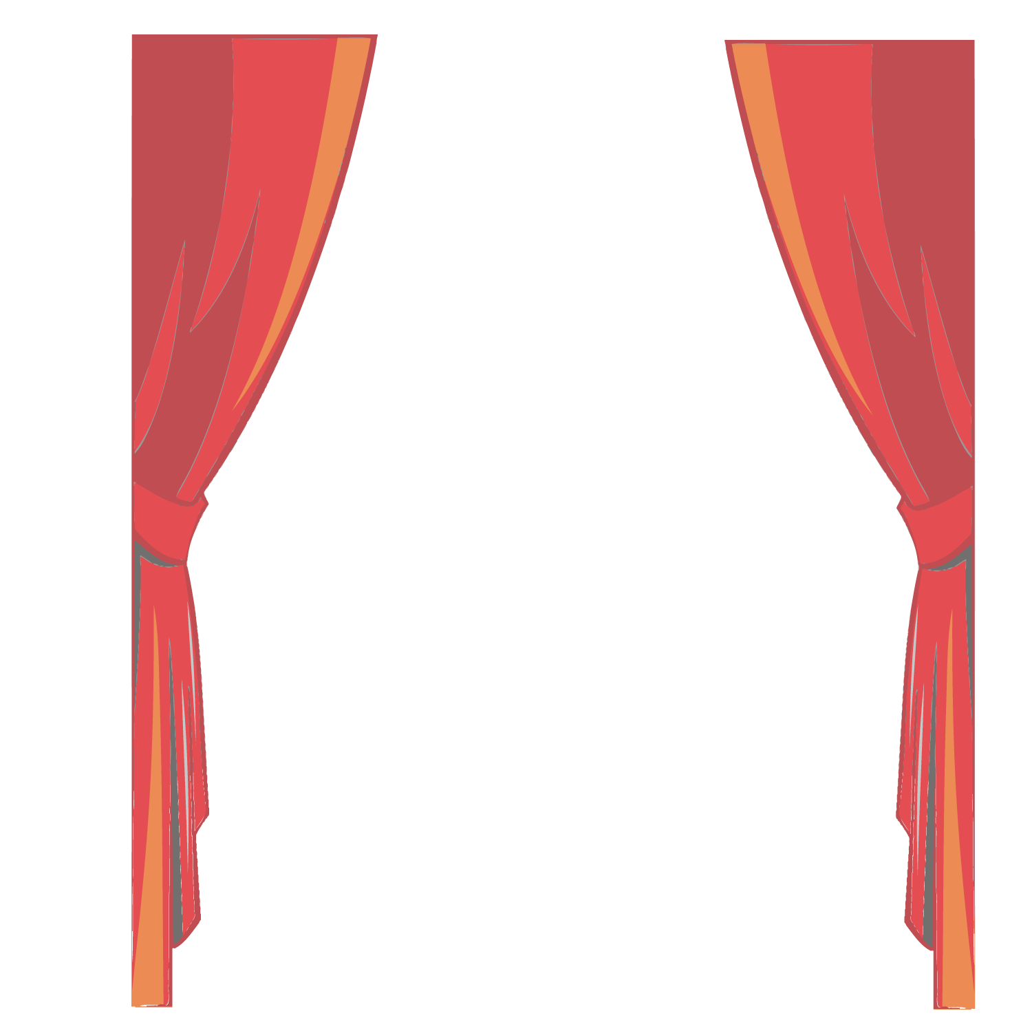 Stage transparent cartoon. Download red fine curtains