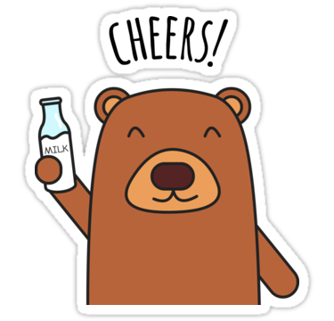Cartoon sticker png. Cheers bear being redbubble