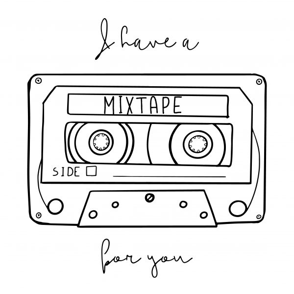 Cartoon style vector illustration with an old school cassette tape and I Have A Mixtape For You handwritten phrase. Great design template