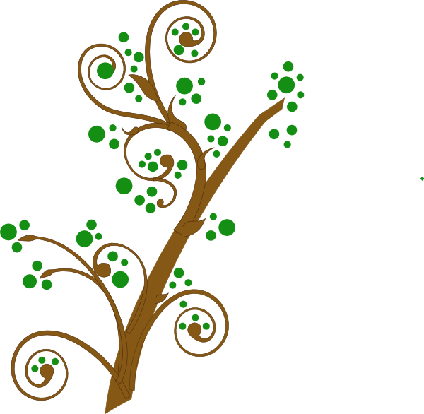 Cartoon tree branch png. Brown and green clip