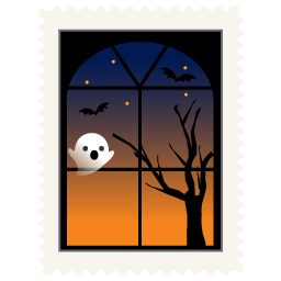 Scary clip window. Stamp spooky icon halloween