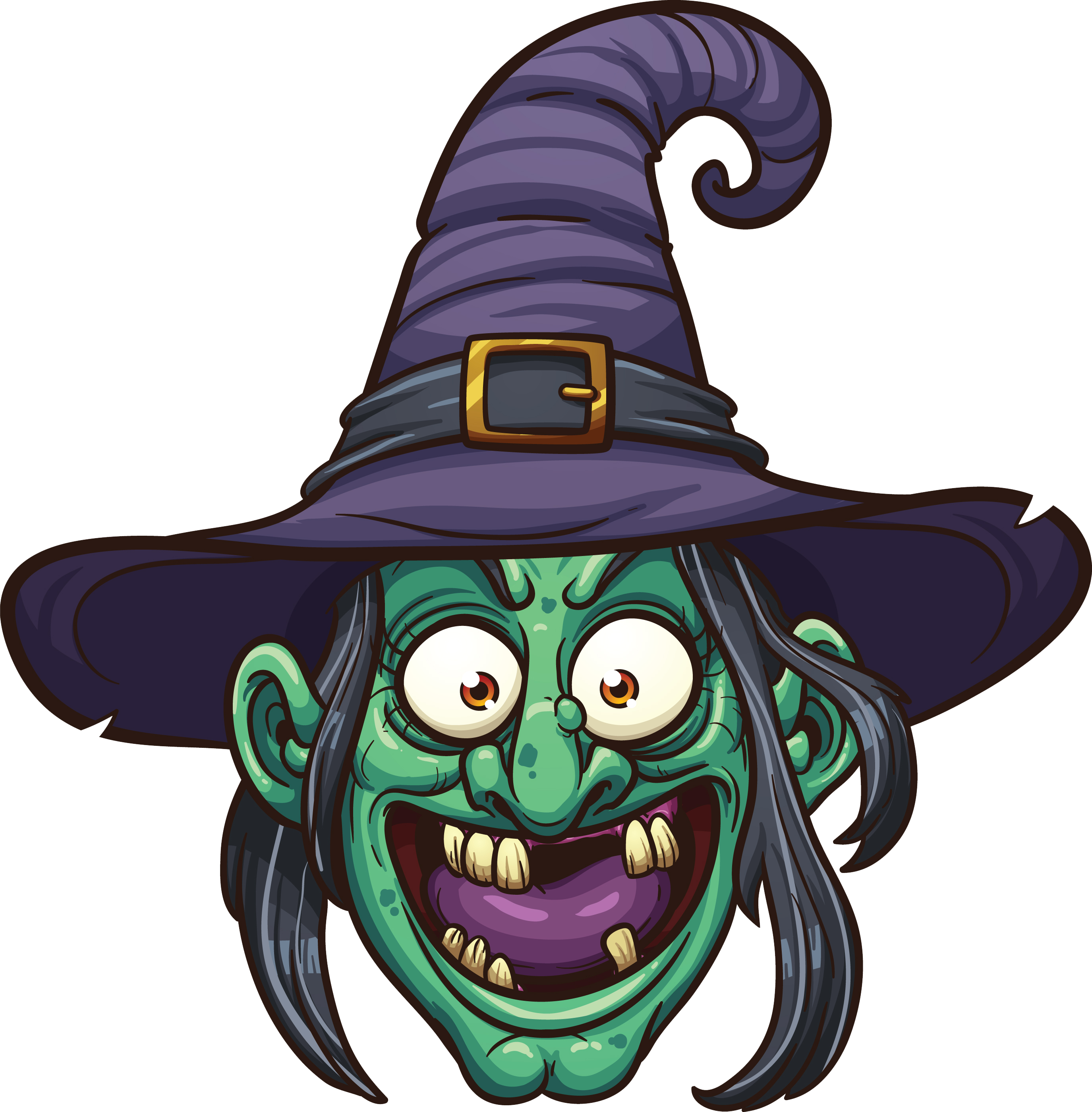 Drawing witch face. Witchcraft cartoon illustration png