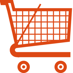 Trolley vector cartoon. Orange shopping cart clip