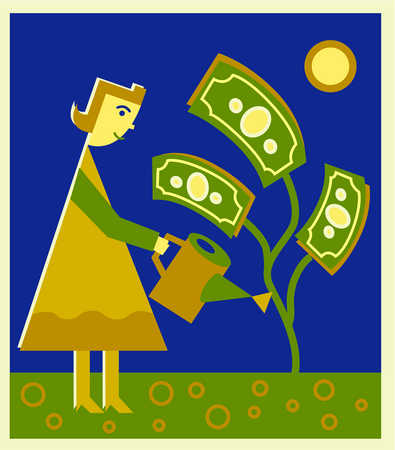 Cash clipart cash crop. Stock illustration a woman