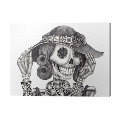Cash drawing skull. Art day of the