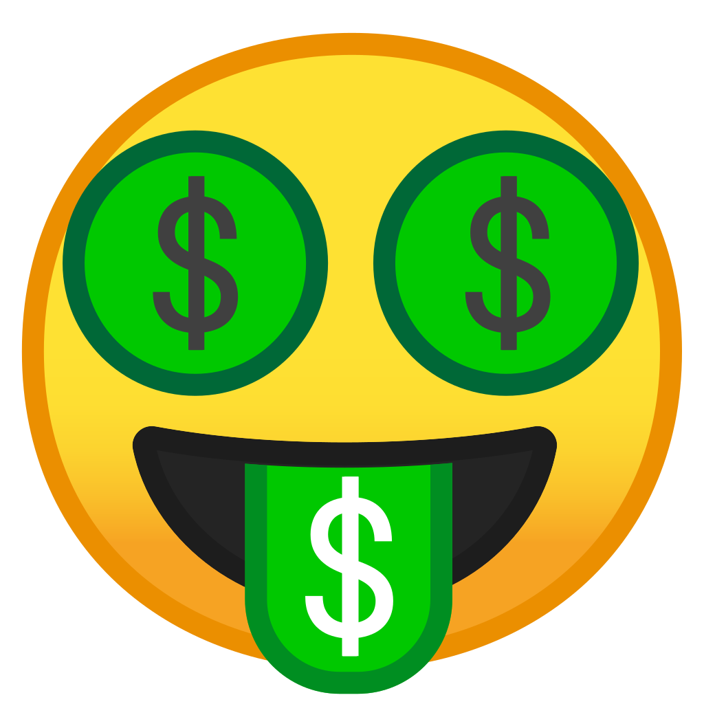 Cash emoji png. Money mouth face icon