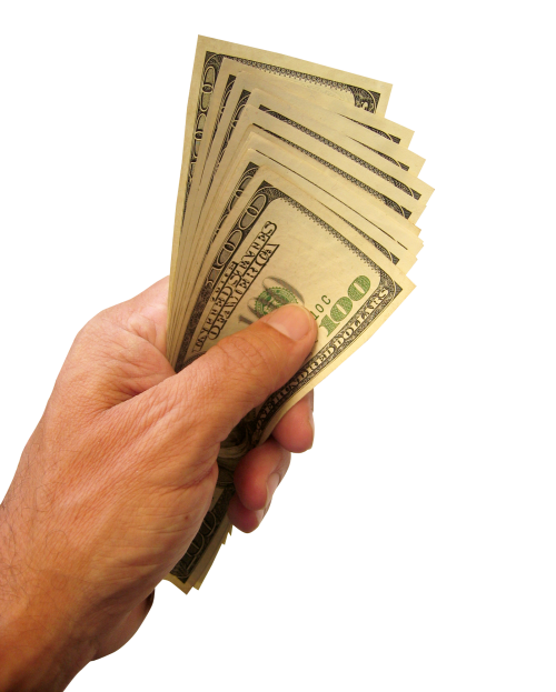 Cash in hand png. Holding us dollars money