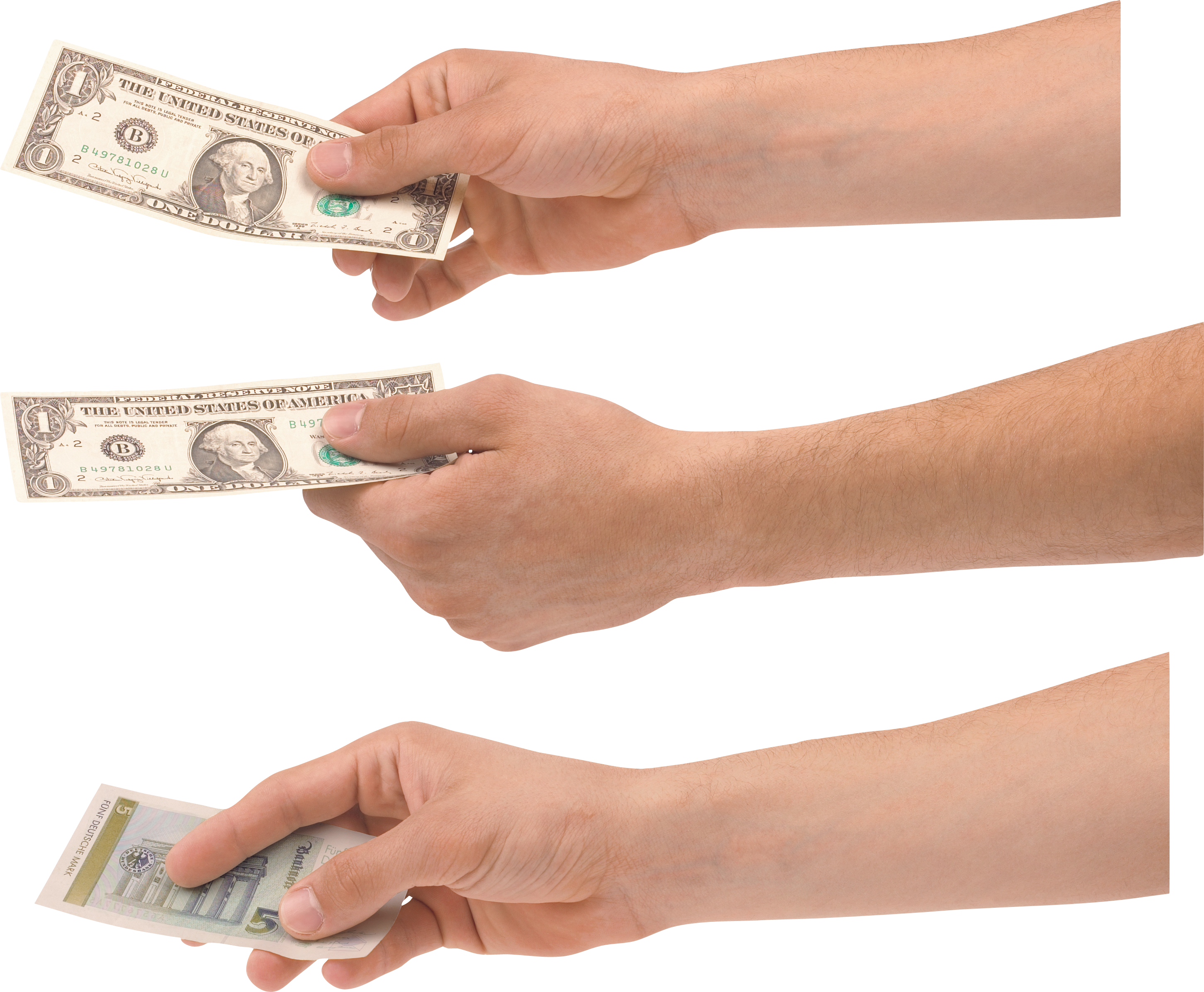Cash in hand png. Holding money one isolated
