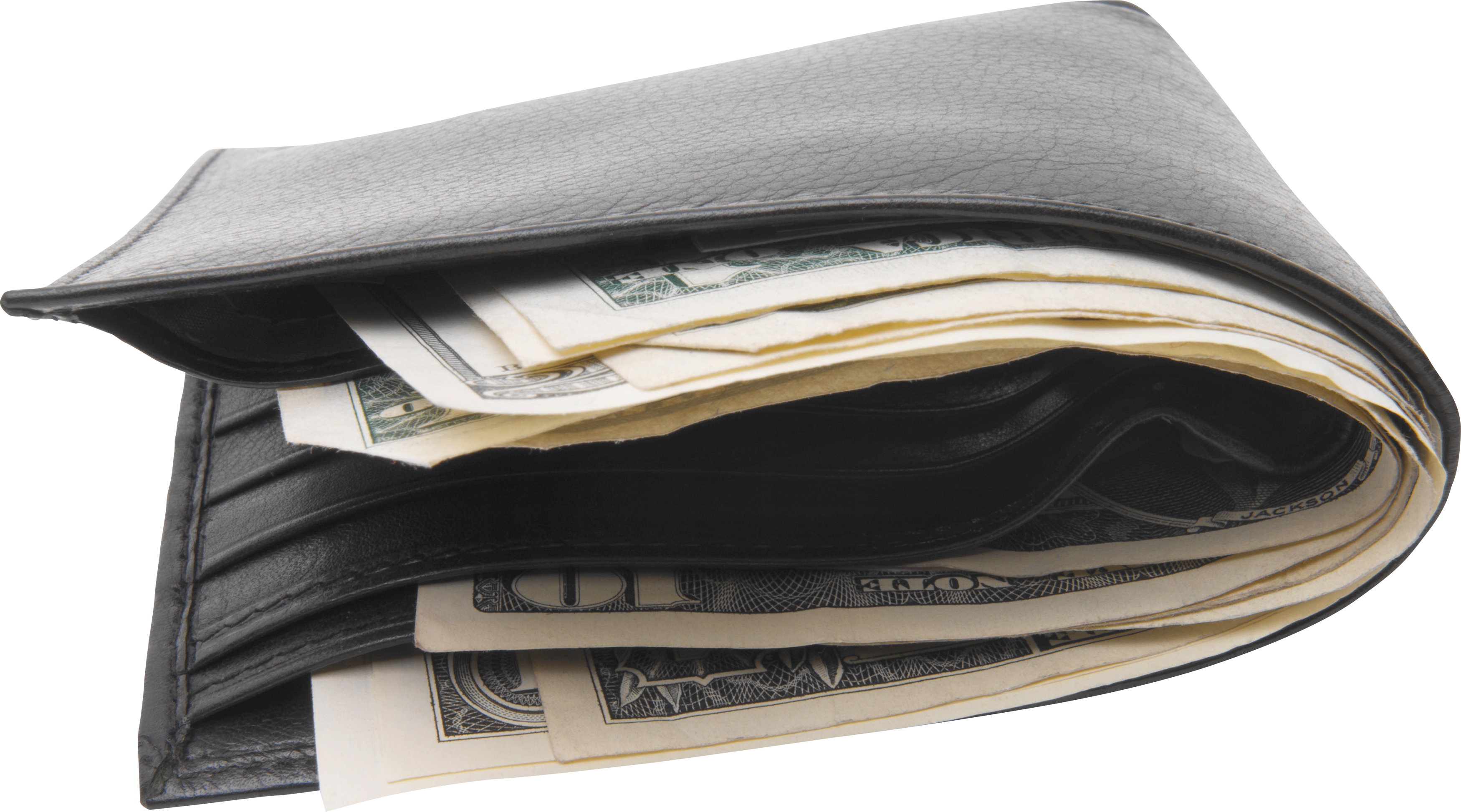 Cash wallet png. Black with money image