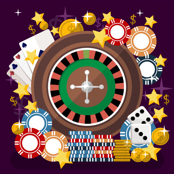 Casino flat style vector illustration. Roulette playing cards