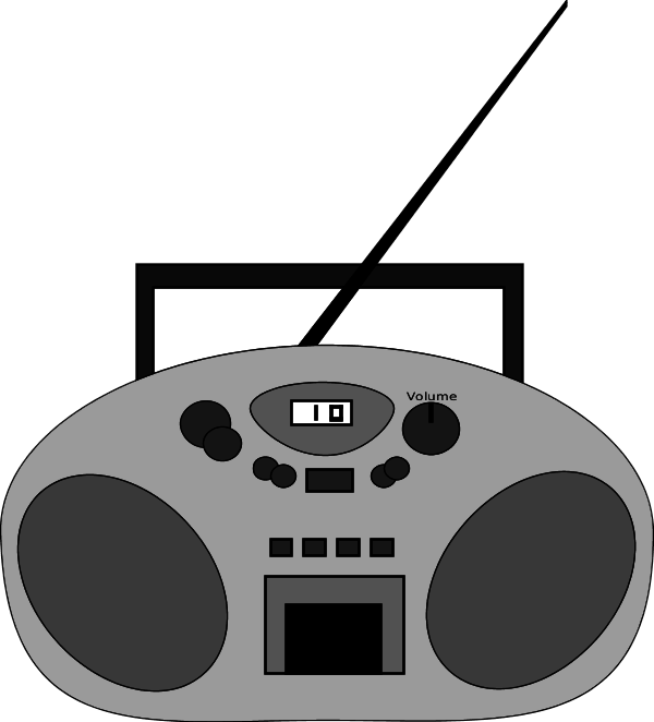 Cassette clipart transparent background radio. Png black and white